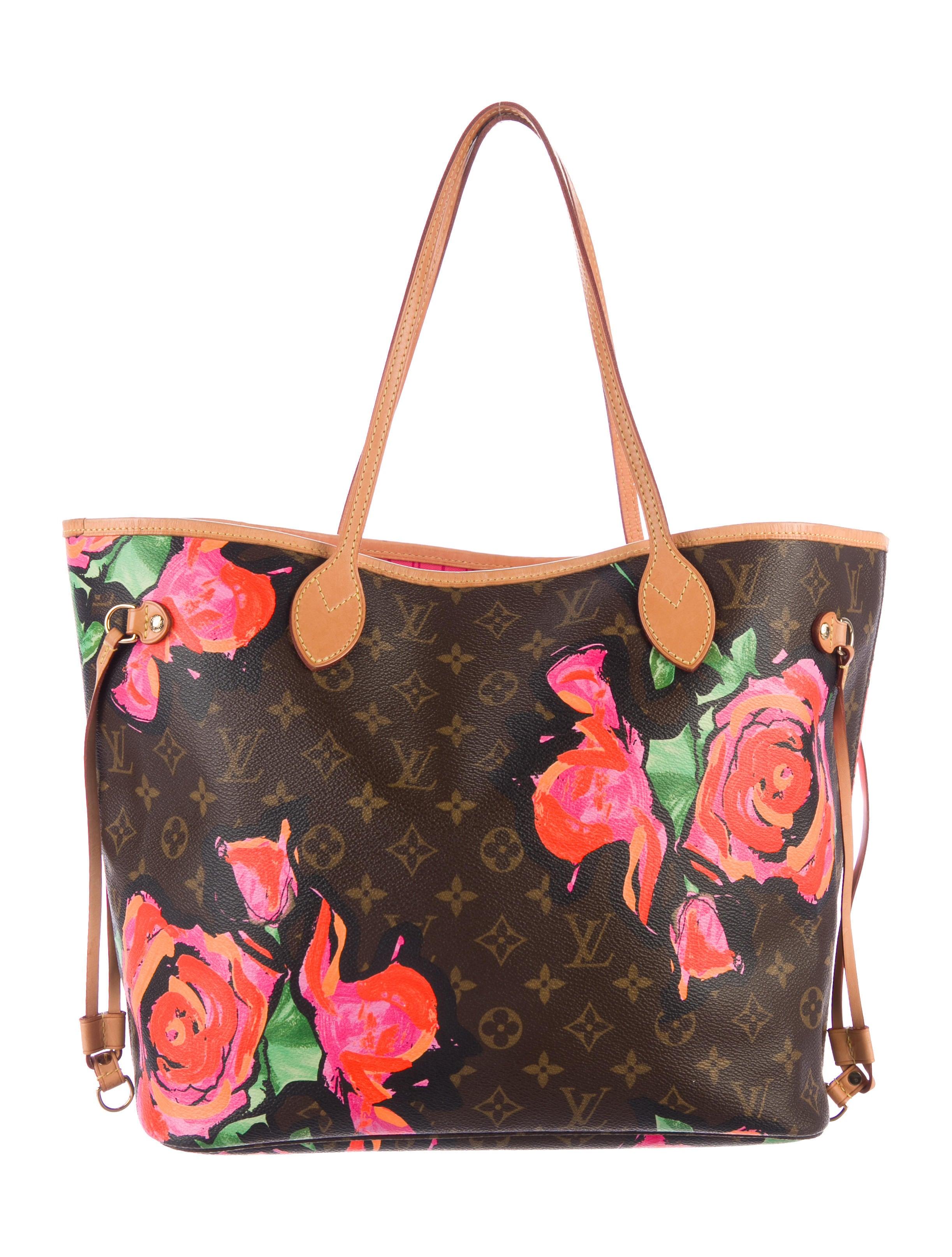 louis vuitton roses neverfull mm - handbags