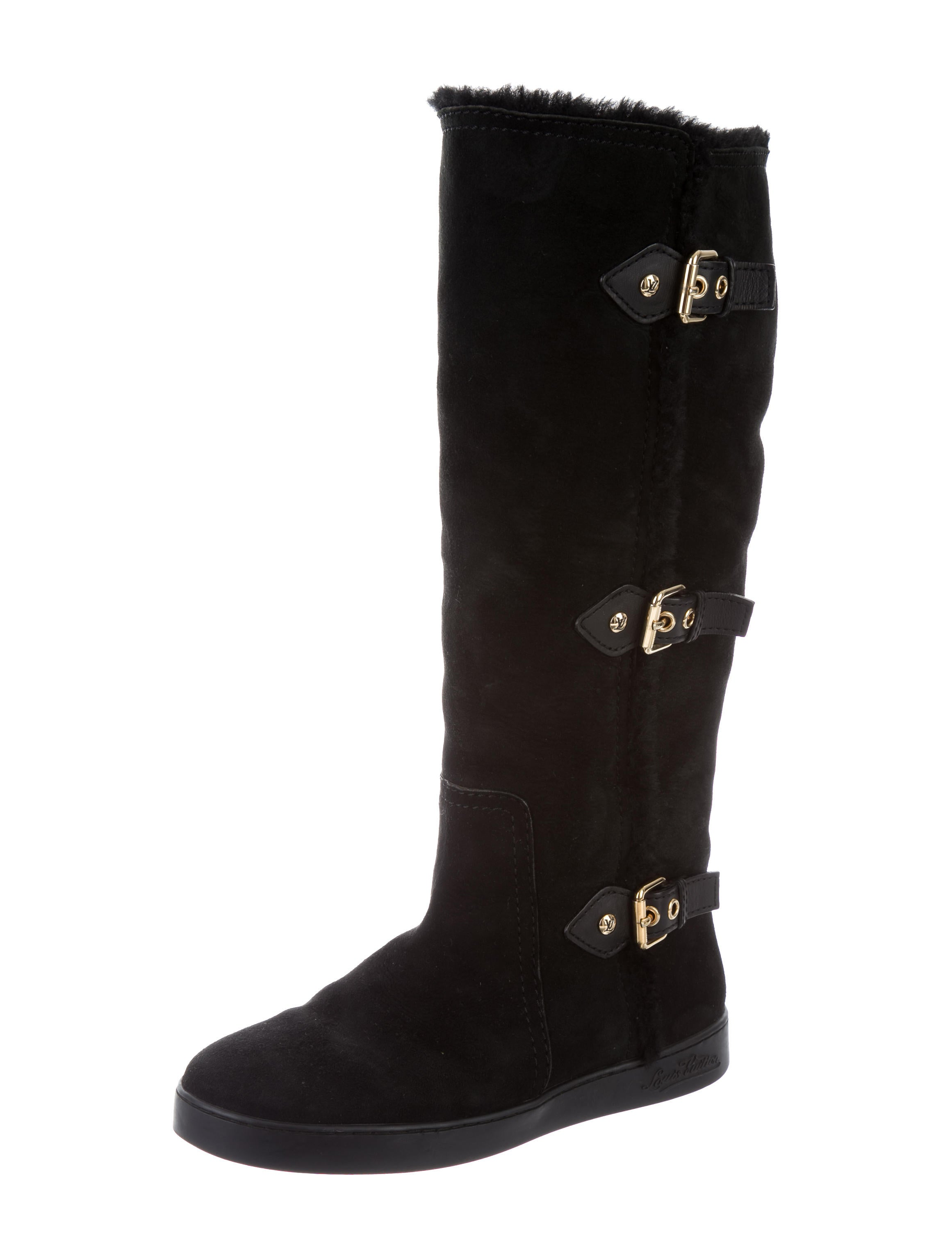 louis vuitton shearling knee high boots shoes