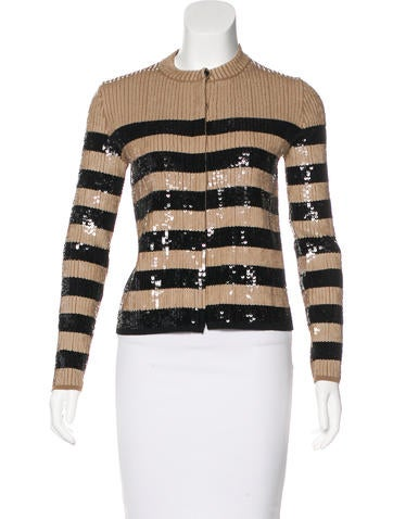 Louis Vuitton Striped Sequin Cardigan None