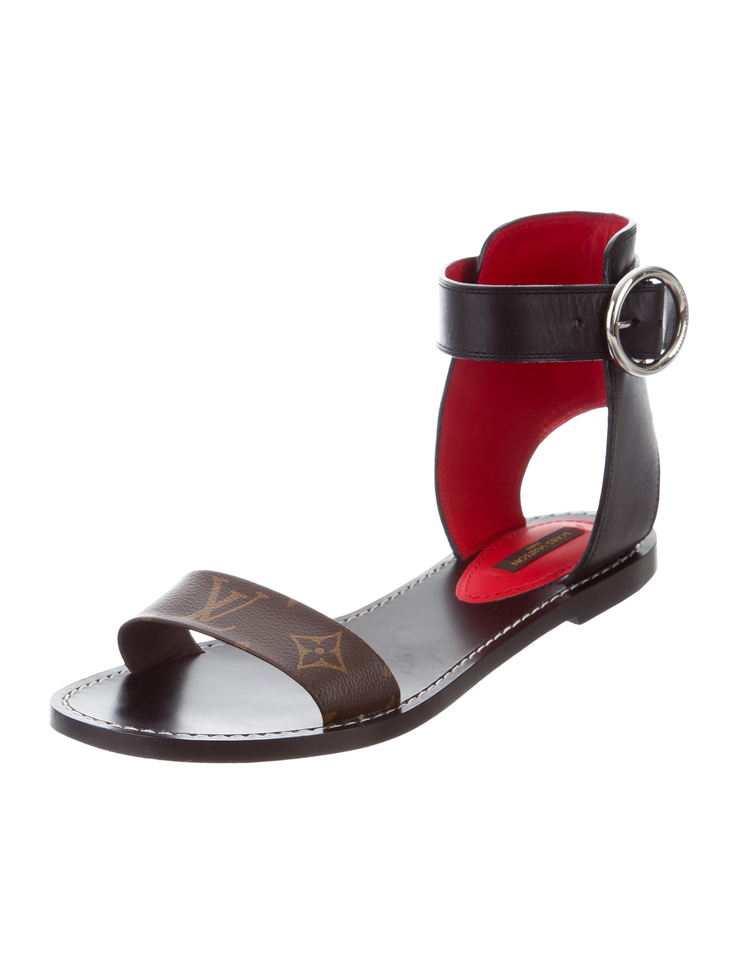 Louis Vuitton Monogram Trimmed Leather Sandals Shoes  : LOU1299252enlarged from www.therealreal.com size 2467 x 3255 jpeg 209kB
