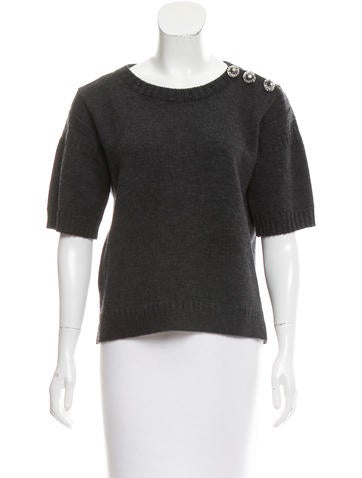 Louis Vuitton Embellished Wool Top None