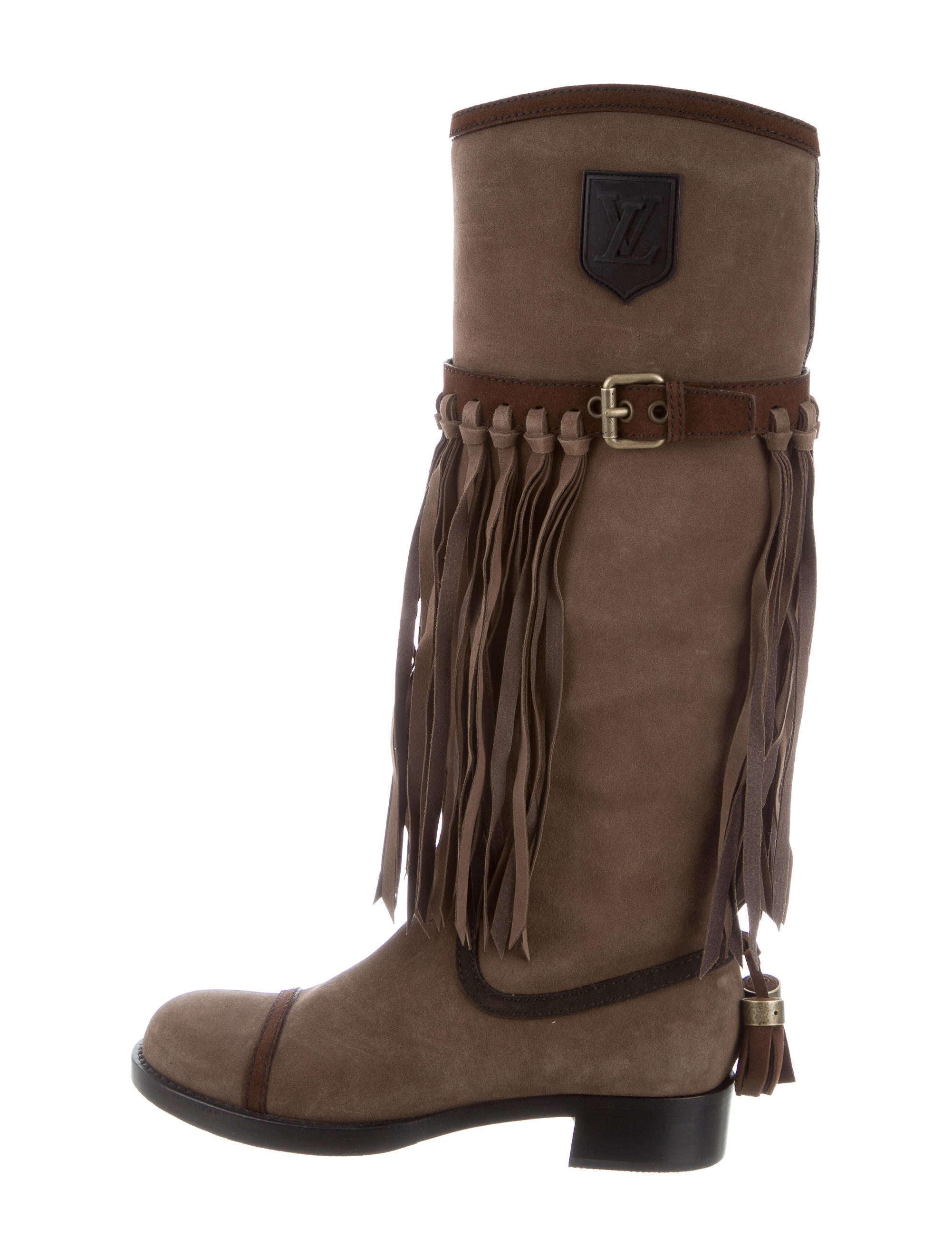 louis vuitton fringe trimmed suede boots shoes