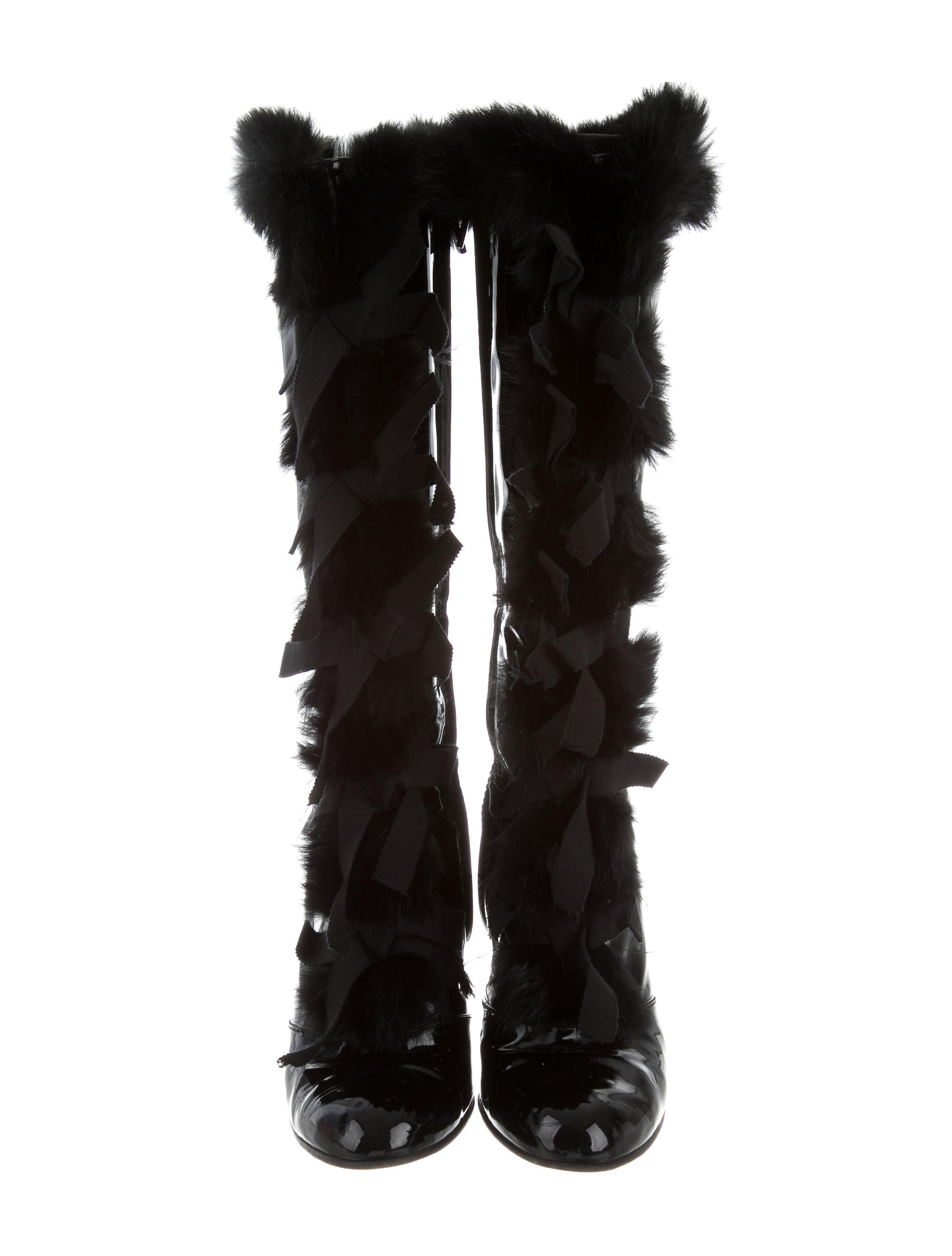 louis vuitton rabbit fur trimmed patent leather knee high