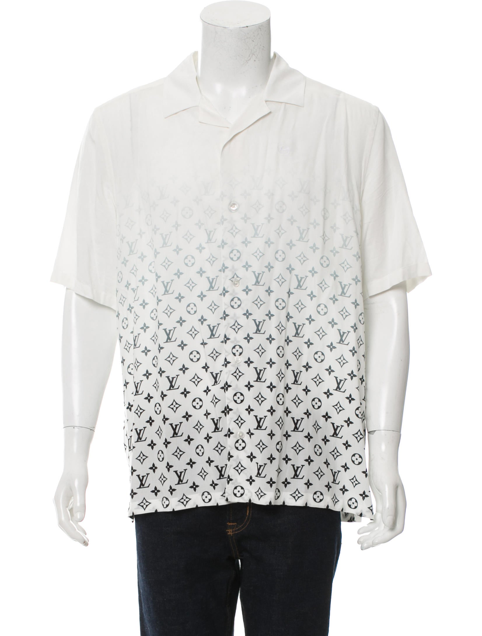 Louis vuitton monogram button up shirt clothing for Initials on dress shirts