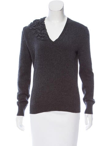 Louis Vuitton Cashmere Ruffle-Accented Sweater None