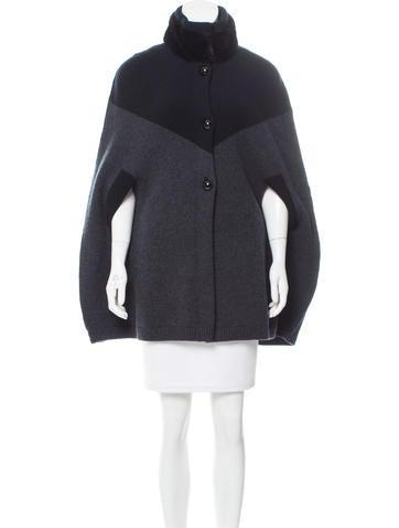 Louis Vuitton Wool Mink Fur-Trimmed Cape None