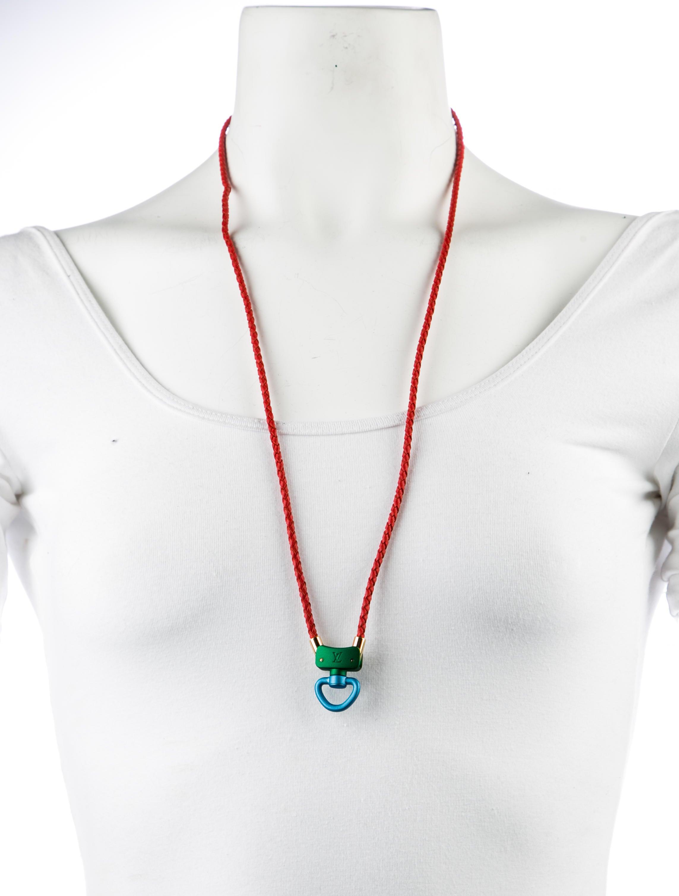 louis vuitton leather pendant necklace necklaces