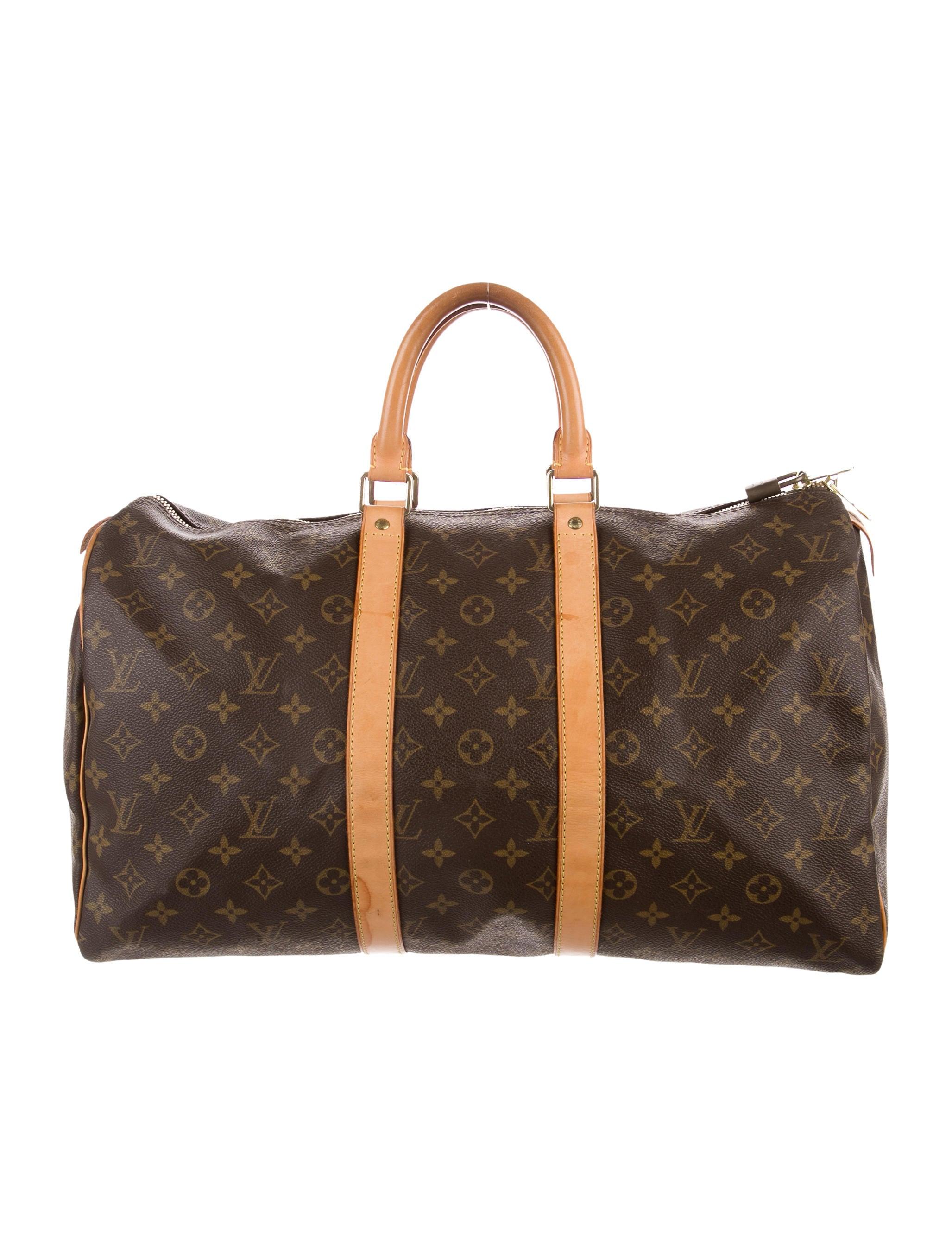 louis vuitton monogram keepall 45 handbags lou134020 the realreal. Black Bedroom Furniture Sets. Home Design Ideas