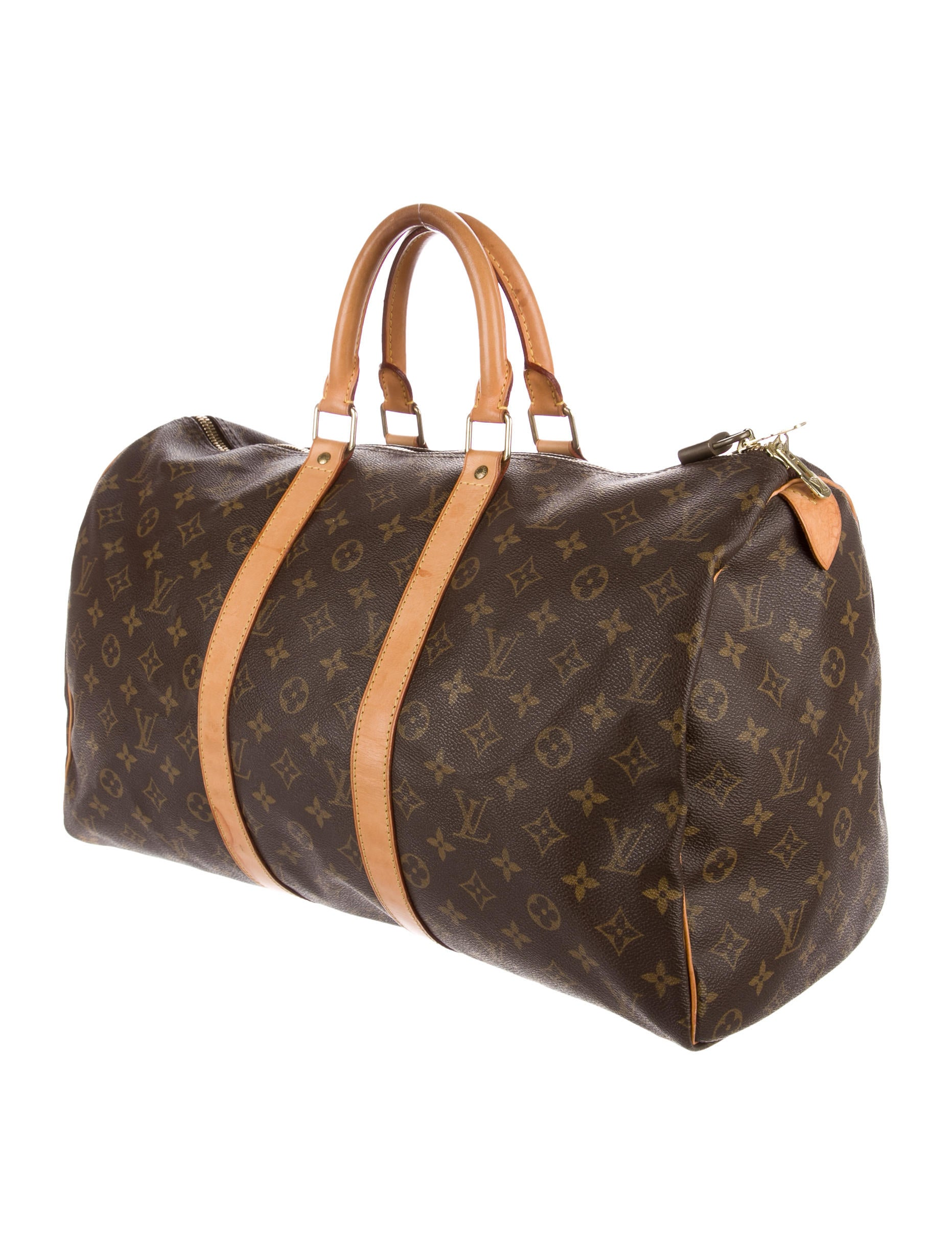 louis vuitton monogram keepall 45 handbags lou134020 the realreal. Black Bedroom Furniture Sets. Home Design Ideas