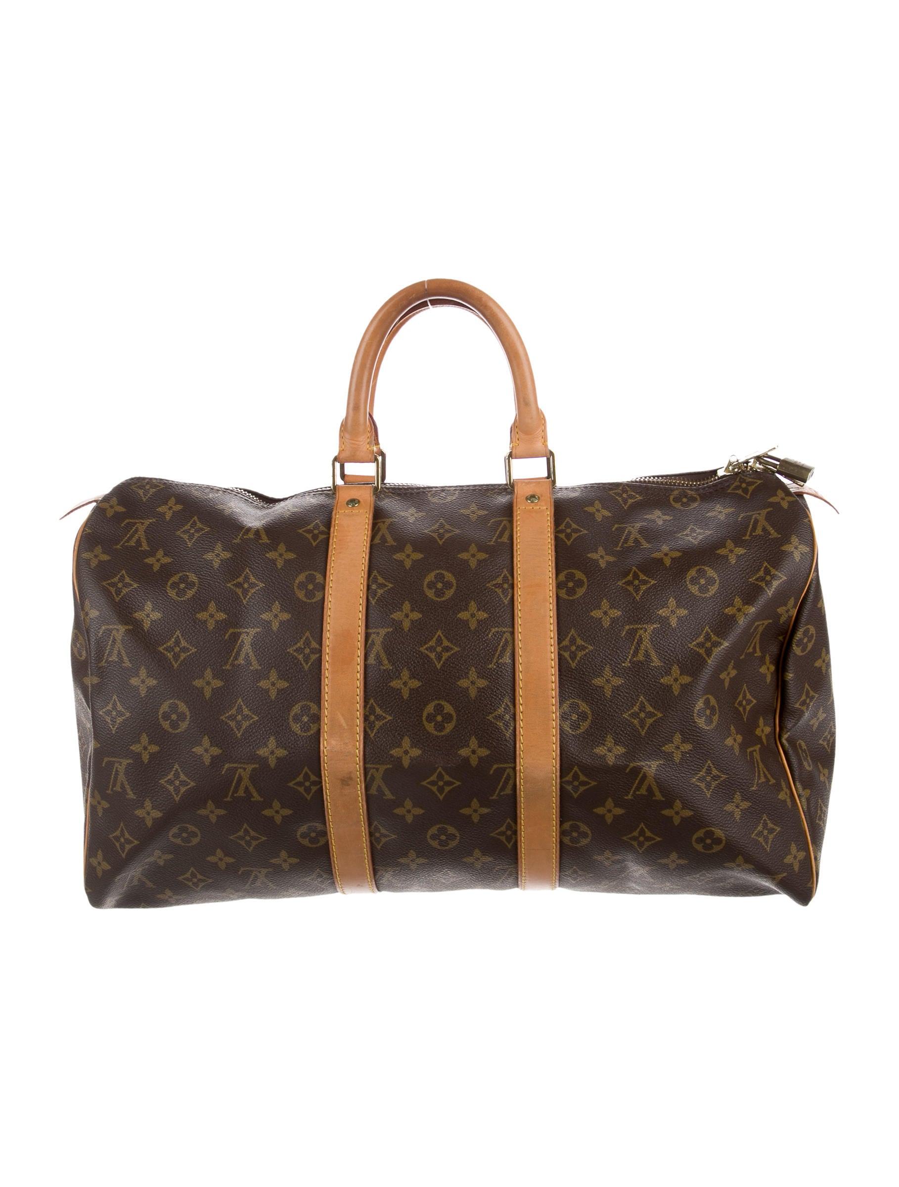 louis vuitton monogram keepall 45 handbags lou134086 the realreal. Black Bedroom Furniture Sets. Home Design Ideas