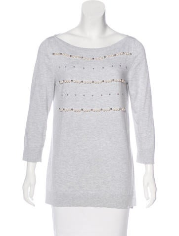 Louis Vuitton Faux Pearl-Accented Knit Top None