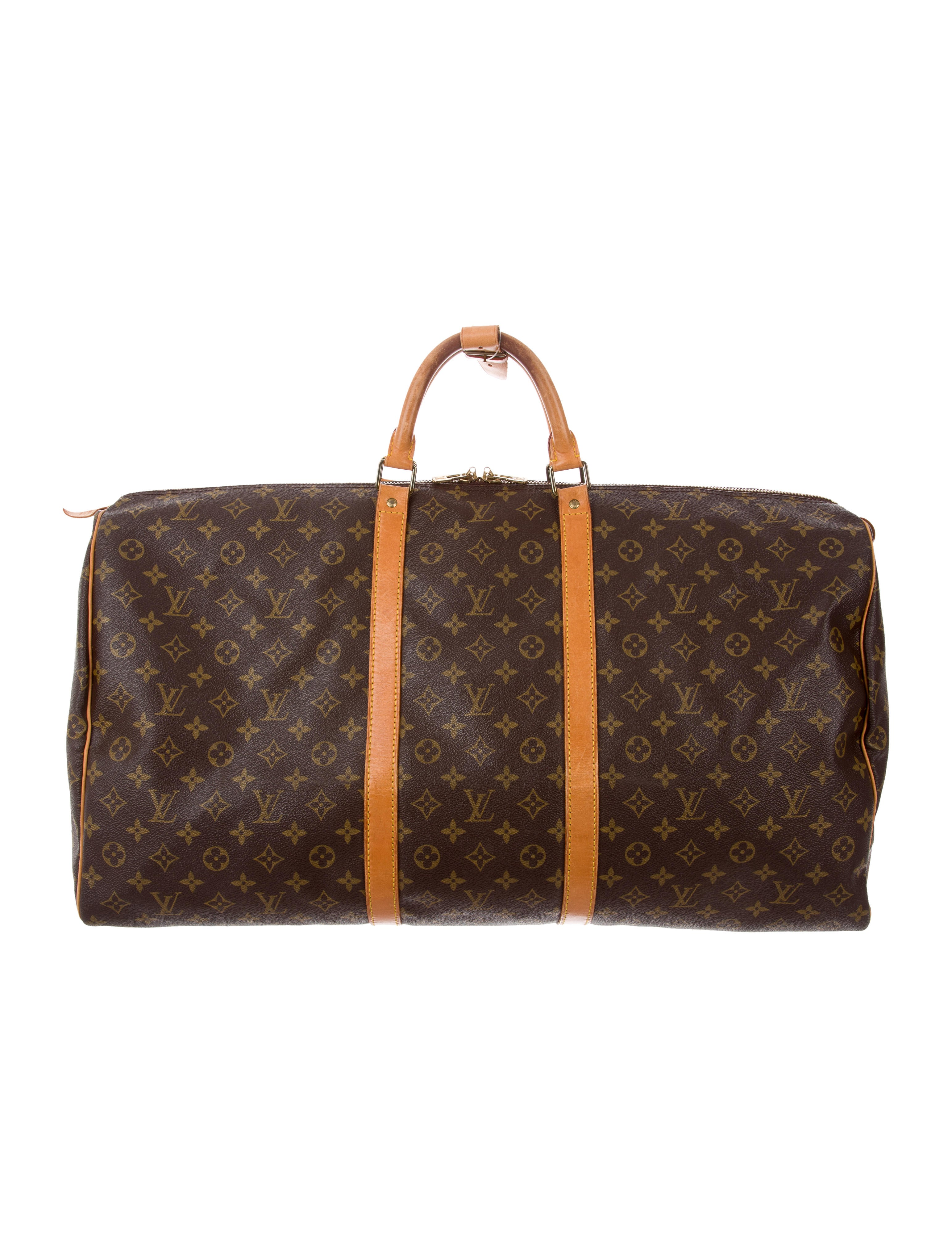 louis vuitton monogram keepall 60 handbags lou139637 the realreal. Black Bedroom Furniture Sets. Home Design Ideas