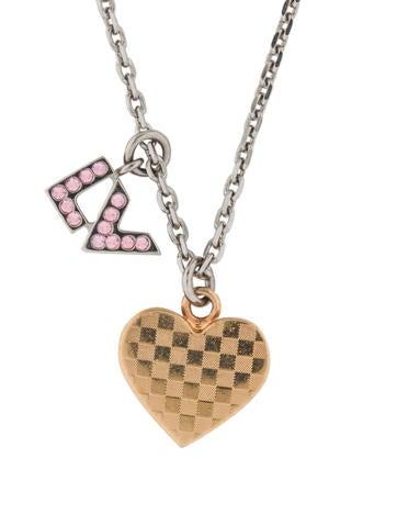 Louis Vuitton Crystal Logo & Heart Pendant Necklace None