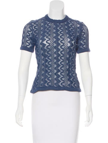 Louis Vuitton Open-Knit Short Sleeve Top None