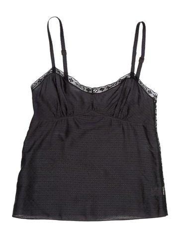 Louis Vuitton Lace-Trimmed Silk-Blend Top None