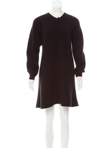 Louis Vuitton Wool Rib Knit Dress None