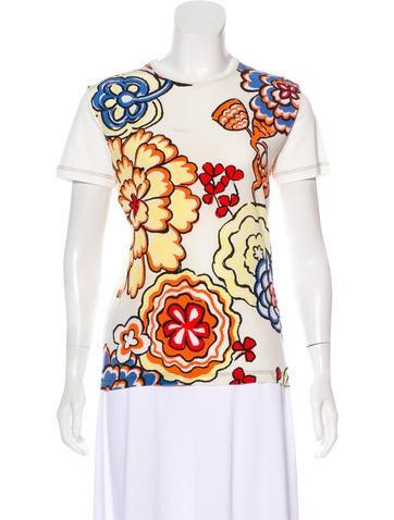 Louis Vuitton Floral Crew Neck Top None