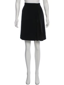 Louis Vuitton Pleat-Accented Wool Skirt