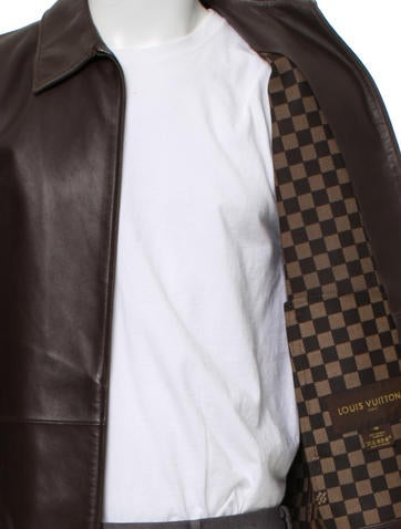 f389642f786 Damier-Lined Leather Jacket