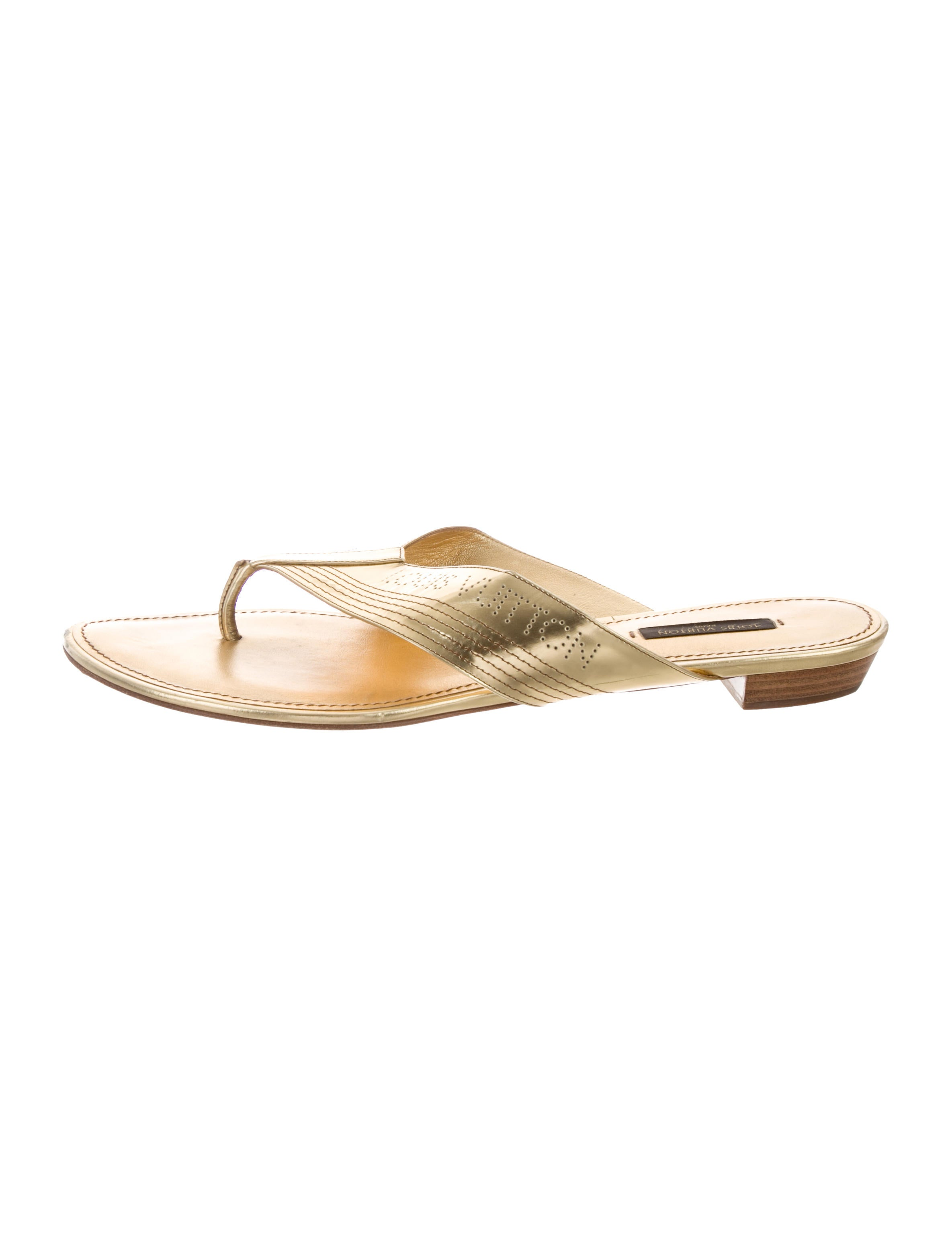 4c078f0e80b0 Louis Vuitton Metallic Thong Sandals - Shoes - LOU198011