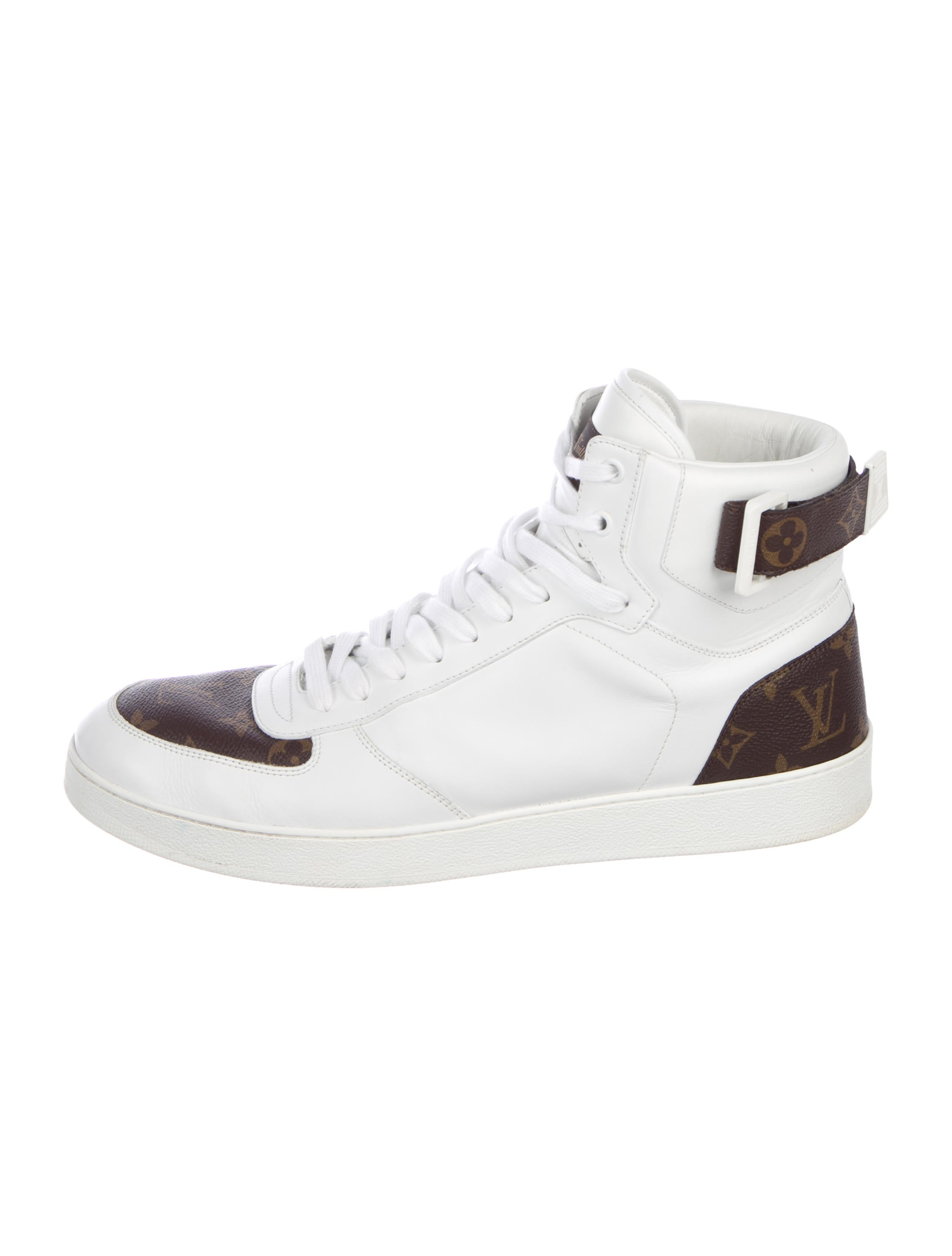 9a13bef0e86 Louis Vuitton Monogram-Trimmed High-Top Sneakers - Shoes - LOU212355 ...