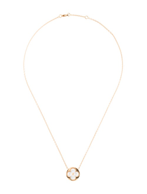 2bd28f1caca Louis Vuitton 18K Mother of Pearl Color Blossom Sun Pendant Necklace ...