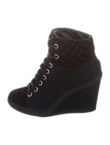 b26a52206bd6 Louis Vuitton. Canvas Wedge Ankle Booties. Size  US ...