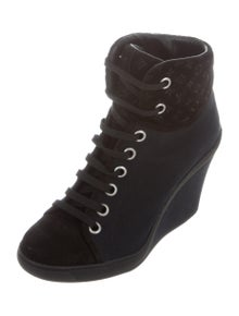 7431261e9b41 Louis Vuitton. Canvas Wedge Ankle Booties