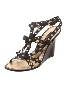 213a27d1f21f Louis Vuitton. Studded Leather Wedges