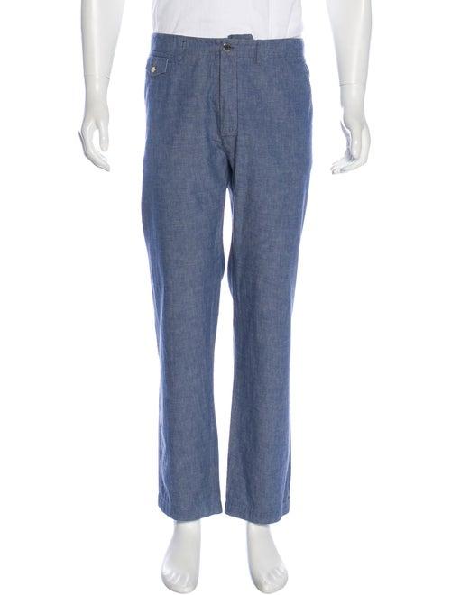 Louis Vuitton Flat Front Chambray Pants blue