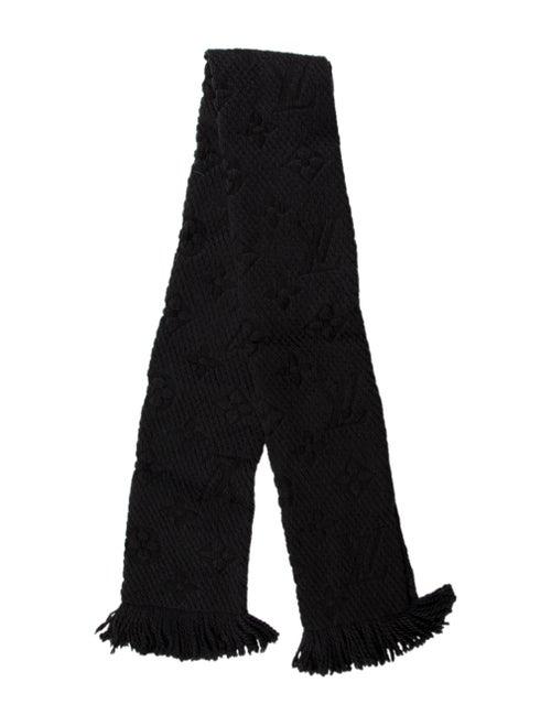 Louis Vuitton Logomania Wool & Silk Scarf Black