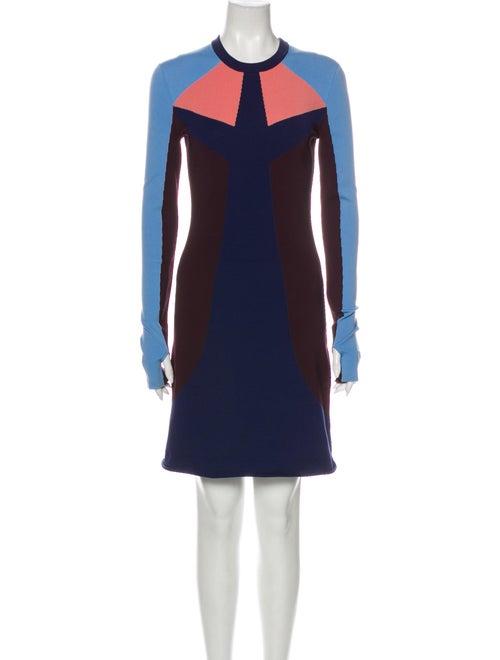 Louis Vuitton Colorblock Pattern Mini Dress Blue