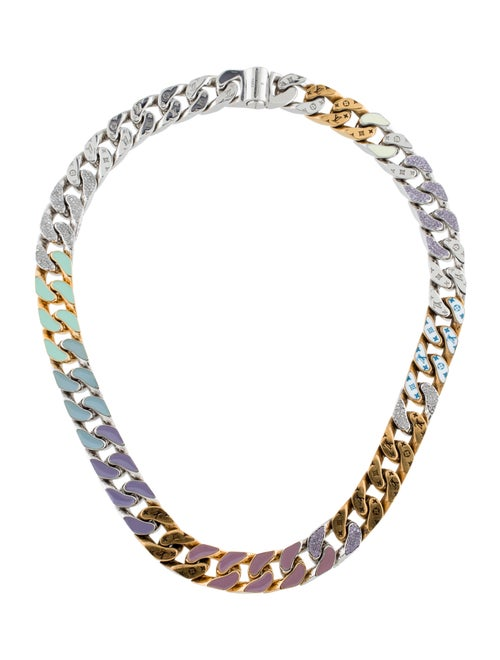 Louis Vuitton Crystal & Enamel Soapy Necklace Silv