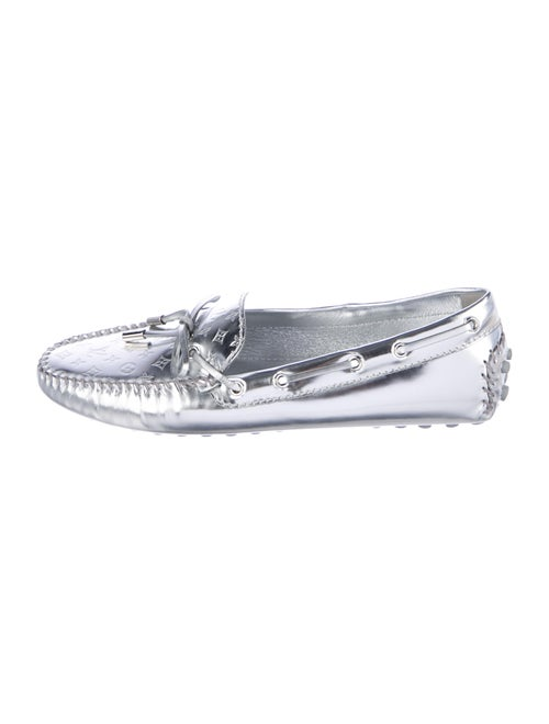 Louis Vuitton Patent Leather Boat Shoes Silver