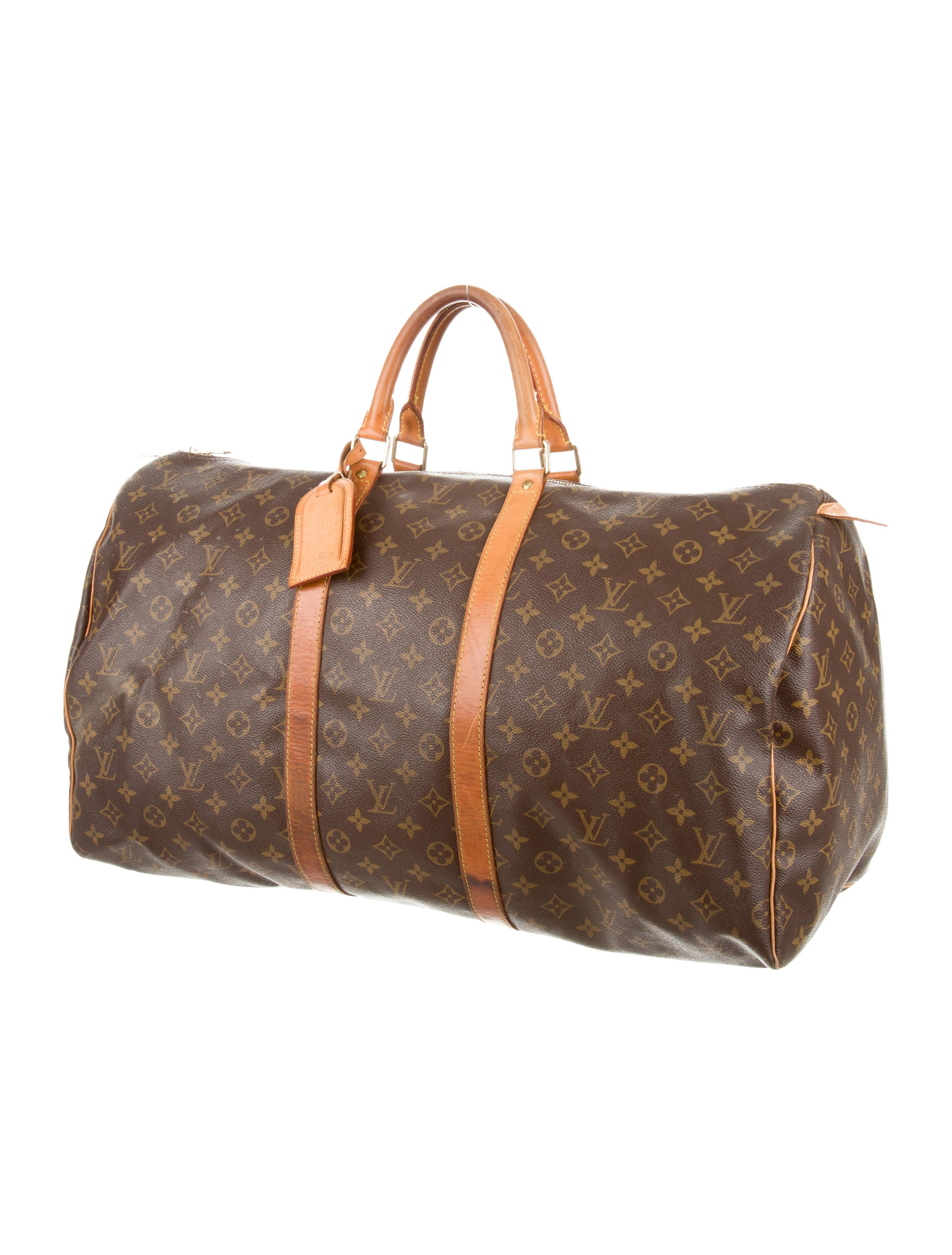 louis vuitton monogram keepall 55 handbags lou66441 the realreal. Black Bedroom Furniture Sets. Home Design Ideas