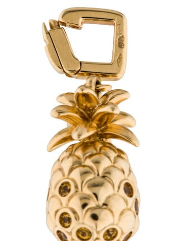 18K Pineapple and Sapphire Charm