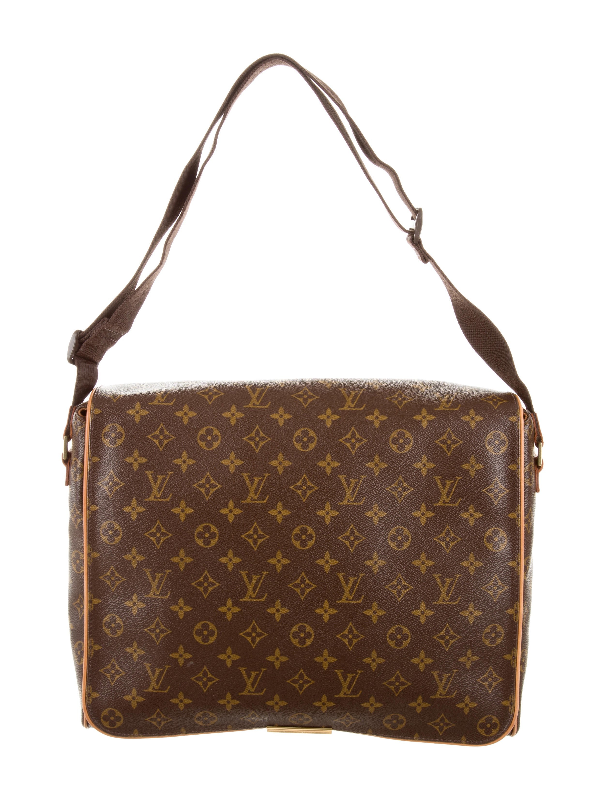 Excellent Brown And Tan Coated Canvas Messenger Style Bag With Brown Leather Trim And Gold-tone Hardware ...
