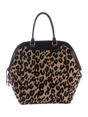 North-South Leopard Chenille Bag