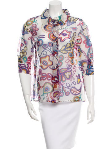 Louis Vuitton Printed Silk Top None
