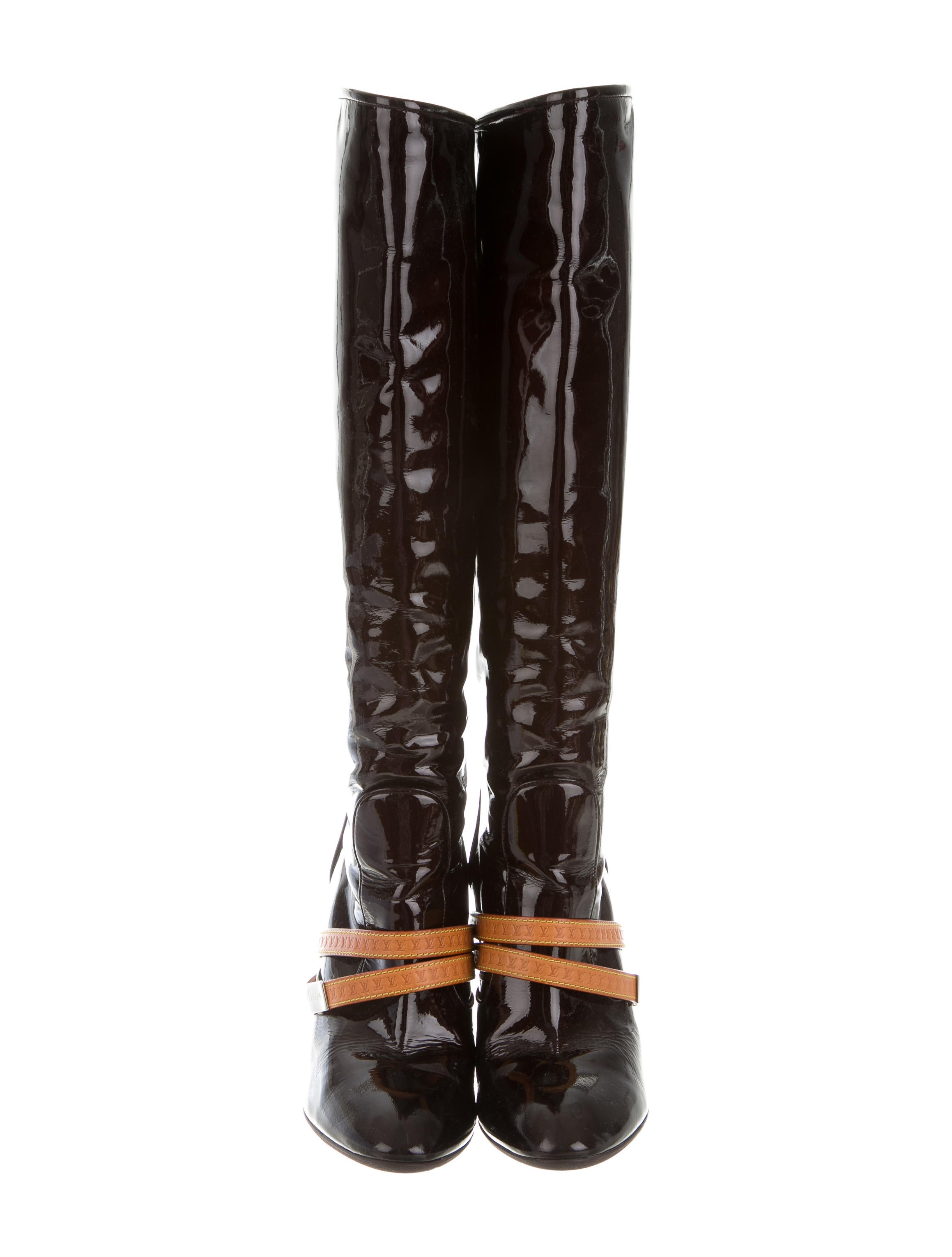 louis vuitton patent leather wedge boots shoes