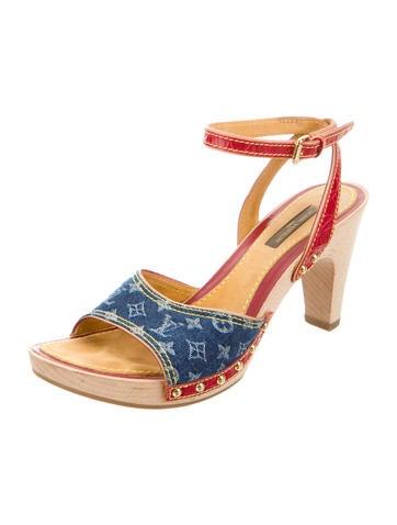 Denim Monogram Sandals