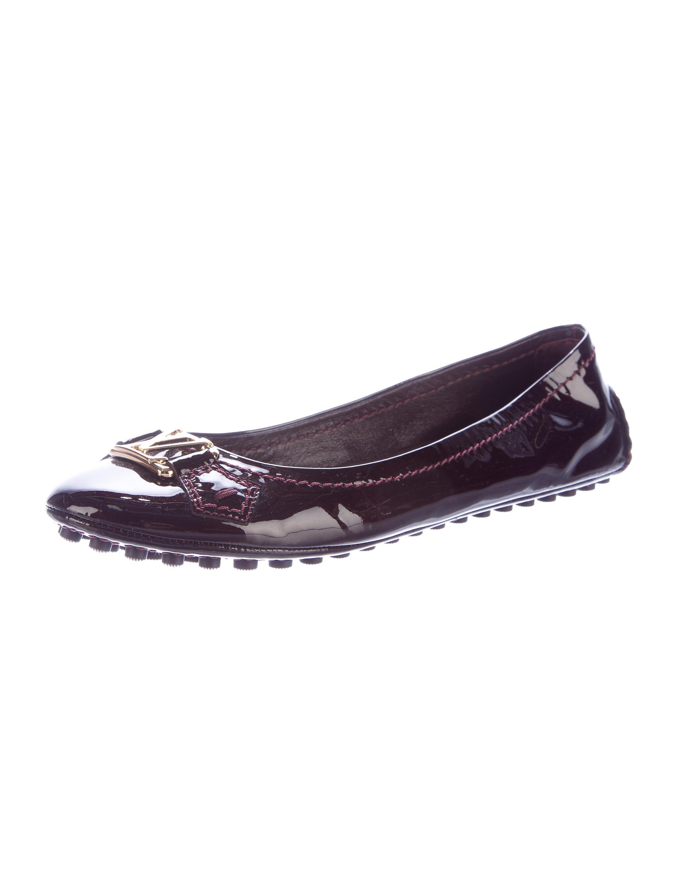 louis vuitton logo patent leather flats shoes lou88085