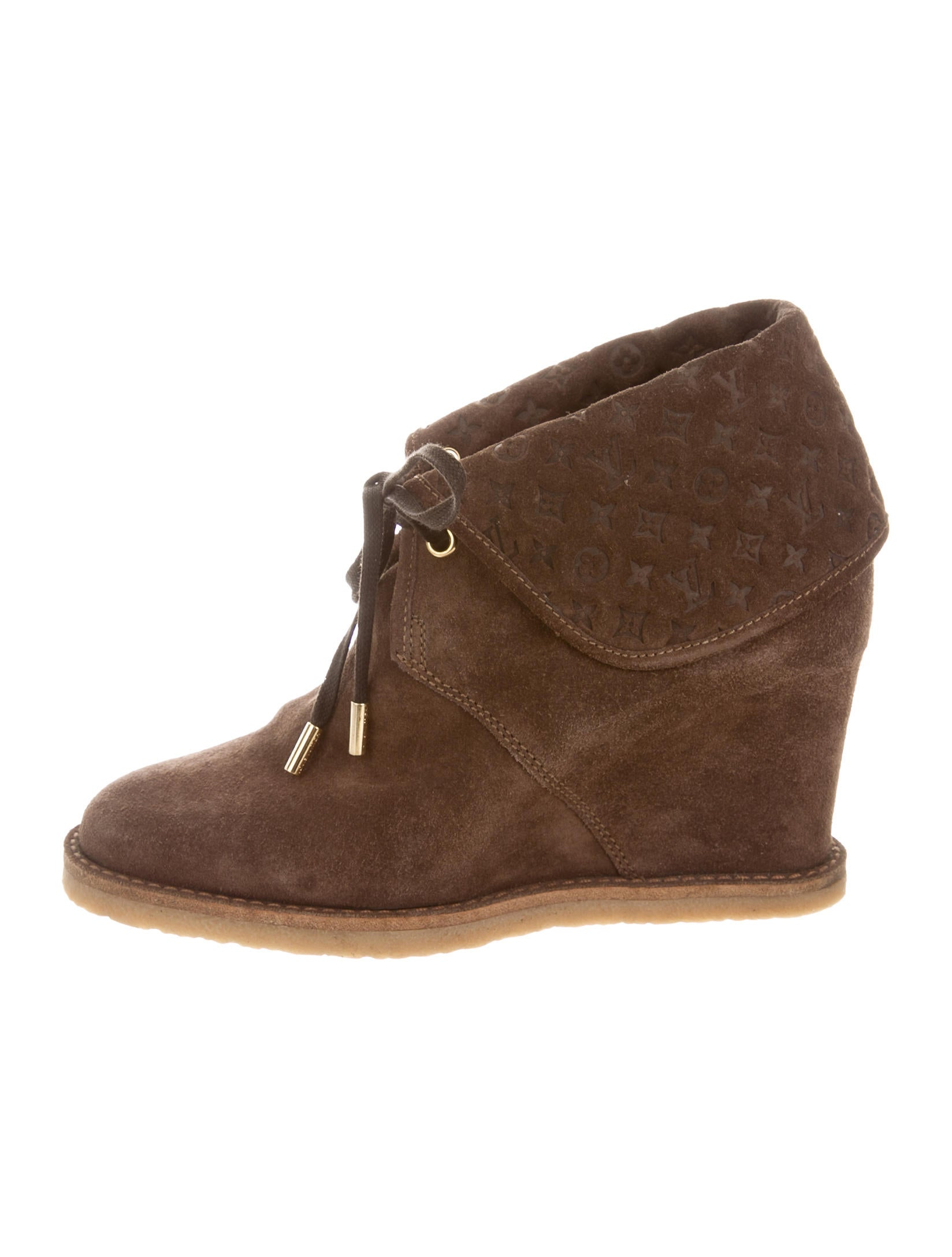 louis vuitton suede wedge booties shoes lou88695 the