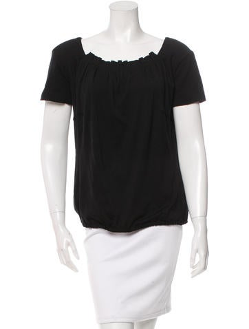 Louis Vuitton Gathered-Accented Short Sleeve Top None