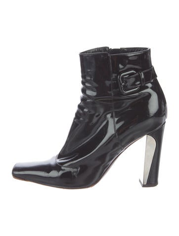 Louis Vuitton Patent Leather Square-Toe Ankle Boots