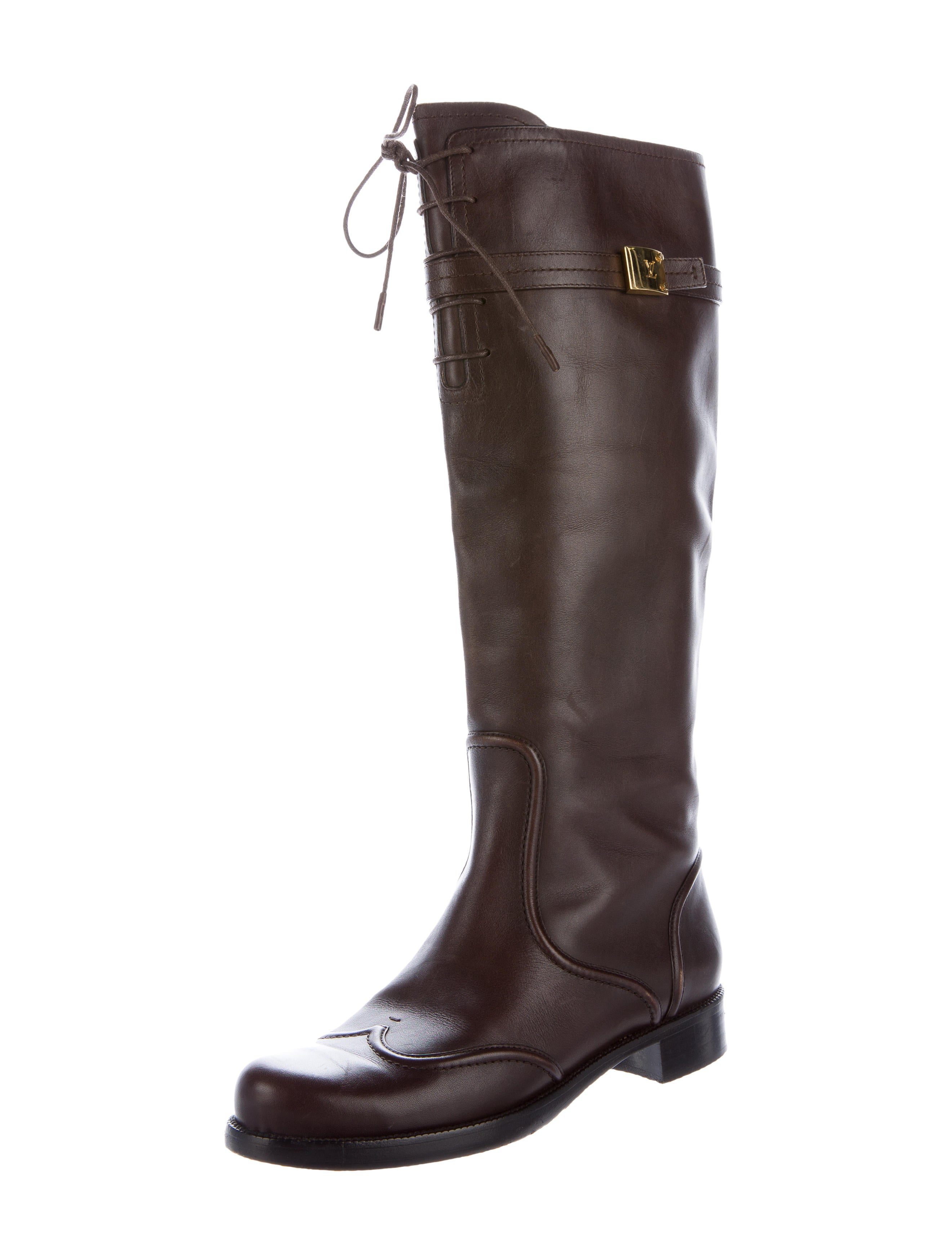 louis vuitton leather knee high boots shoes lou93578