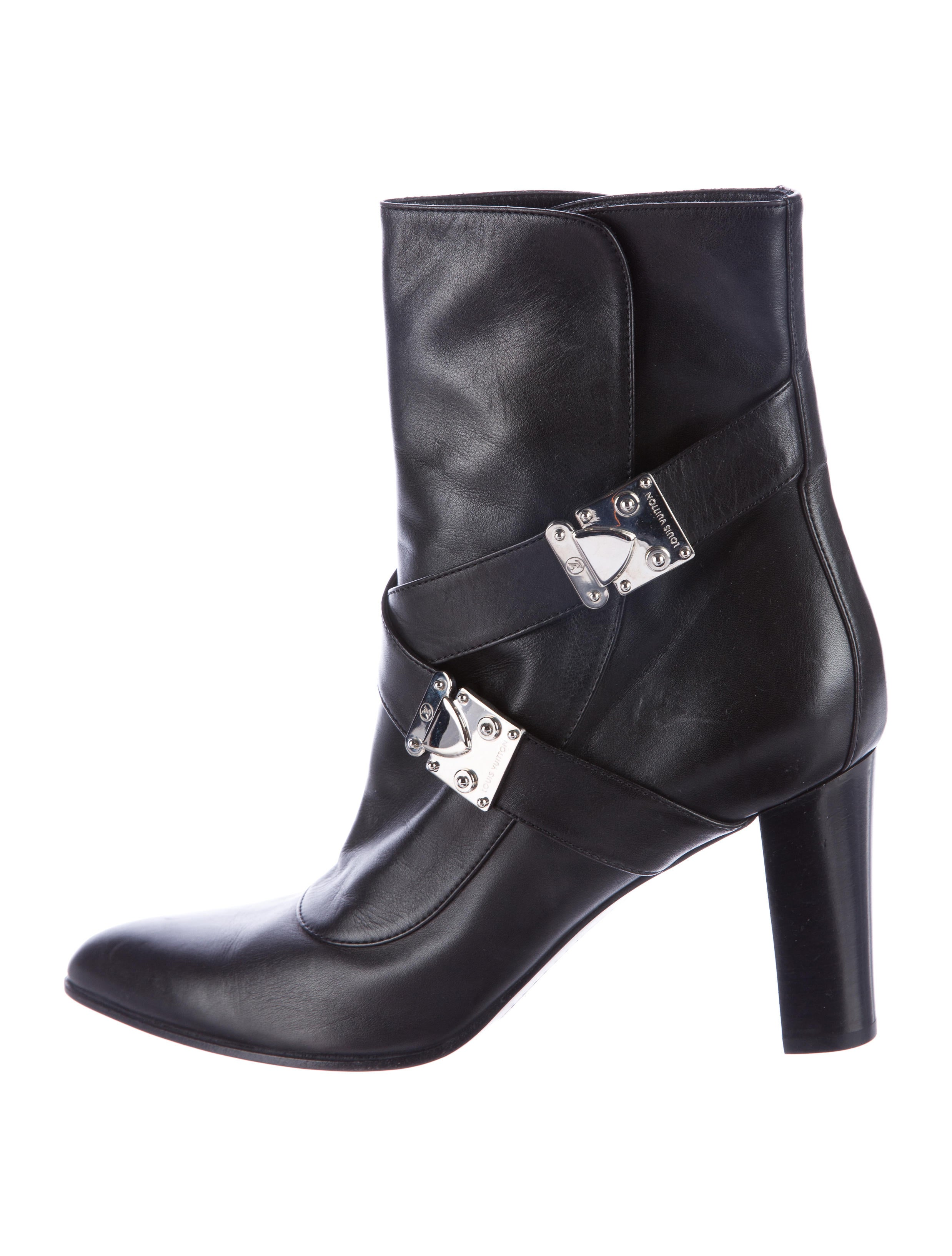 louis vuitton leather buckle ankle boots shoes
