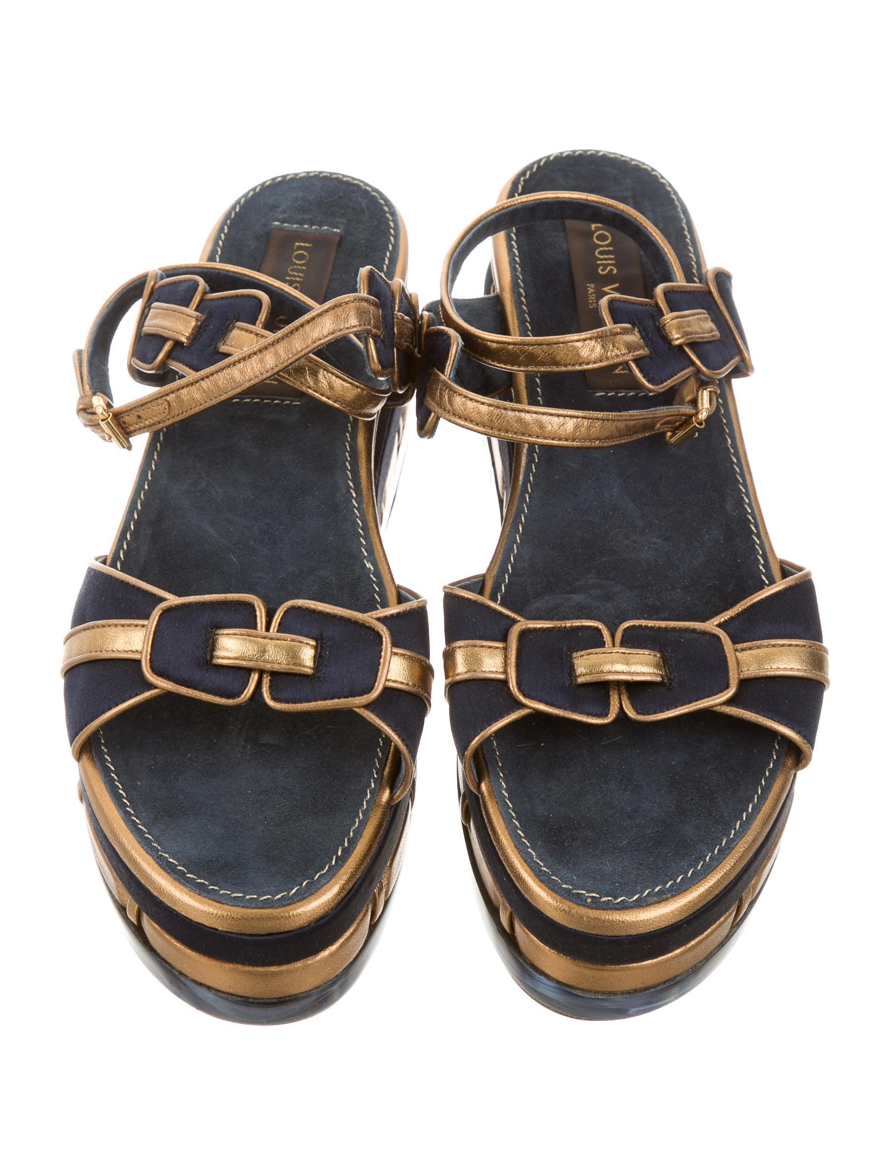 Louis Vuitton Satin Flatform Sandals Shoes Lou94895