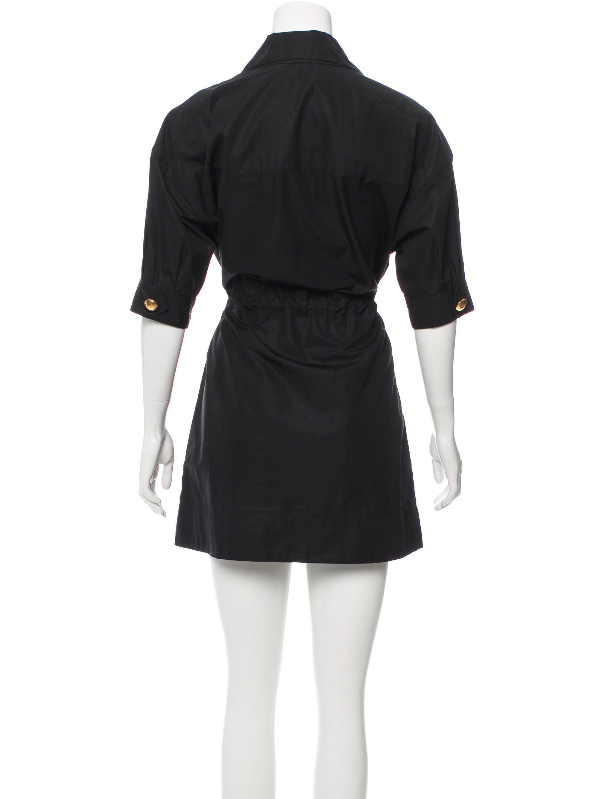louis vuitton belt accented shirt dress clothing