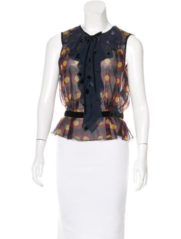 Louis Vuitton Ruffle-Accented Silk Top None